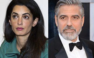 喬治•克魯尼與未婚妻阿邁勒•阿拉姆丁(左)。(大紀元合成圖/AFP/Getty Images)