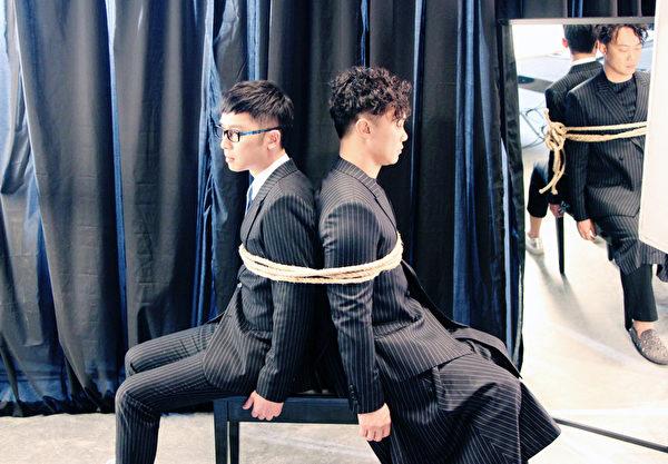 符致逸与陈奕迅合作拍摄《恃爱行凶》MV。(滚石唱片提供)