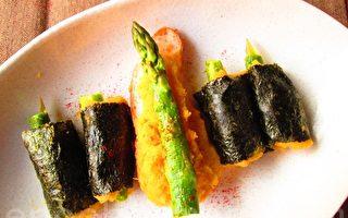 玩料理:芦笋卷心黄金泥