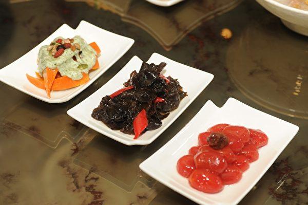 钰善阁轻食小品:南瓜沙拉、芥末木耳、蜜蕃茄。(钰善阁提供)