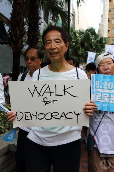 香港民主党创党主席李柱铭呼吁港人622投票争普选。(蔡雯文/大纪元)