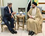美国国务卿凯瑞23日抵达巴格达,与伊拉克高层官员及什叶派、逊尼派代表会面。(AFP)