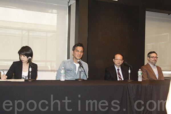 《KANO》导演马志翔(右三)、驻纽约台北经文处副处长苏瑞仁(右二)、纽约亚洲电影节执行主任托帕洛维奇(右一)在2014纽约亚洲电影节台湾电影开幕记者会上。(卫真/大纪元)