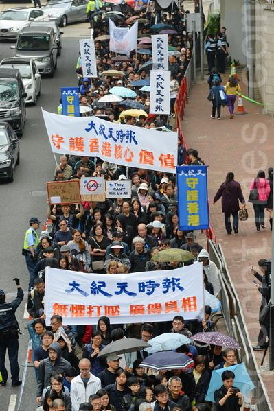 《大紀元時報》始終如一的無懼中共打壓,堅持報道真相、維謢普世價值與香港的核心價值,已經贏得了香港和世界主流社會的認同和讚賞。(宋祥龍/大紀元)