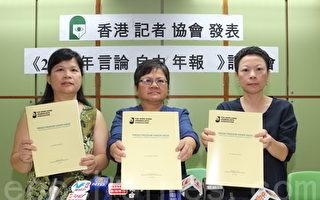 香港新聞自由今年最黑暗 核心價值遭打壓