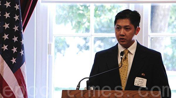 寮國人權協會在美國首都華盛頓DC眾議院佳能大樓舉行人權會議,圖為與會者正在發言。(攝影:蘇子清/大紀元)