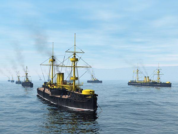 停泊大東溝外的清北洋艦隊。(暖暖書屋提供)