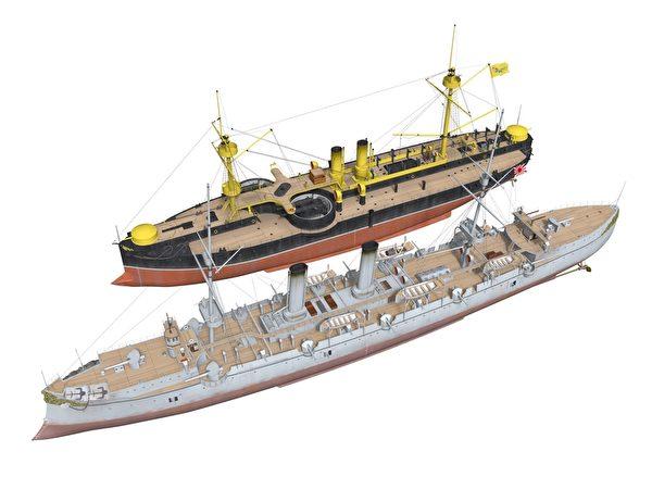 清定遠級裝甲巡洋艦VS日本吉野。(暖暖書屋提供)