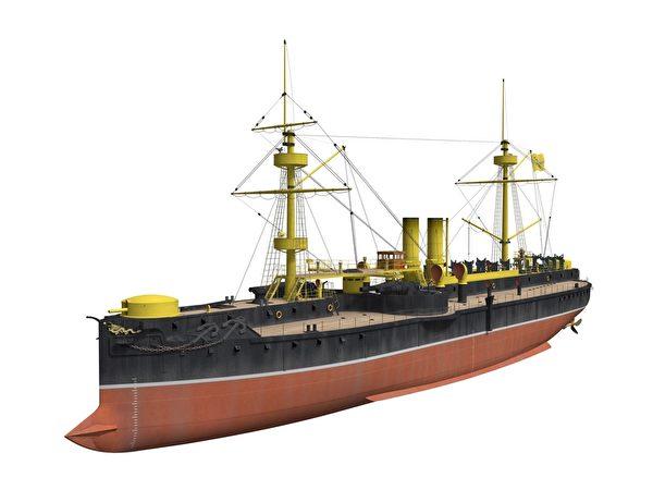 清定遠級裝甲巡洋艦。(暖暖書屋提供)