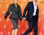 """朱莉与皮特。这是2014年6月13日两人出席在伦敦举行的""""反战地性暴力国际峰会""""。(Eamonn M. McCormack/Getty Images)"""