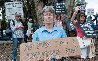 奧巴馬到灣區 示威者呼籲堅持網絡中立性