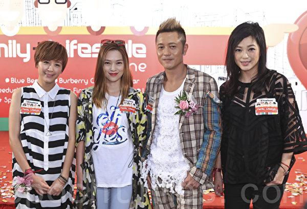 """艺人苏志威""""苏老板""""和老婆刘小慧及怀孕四个月的唐宁和星级妈咪欧倩怡出席一商场活动。(余钢/大纪元)"""