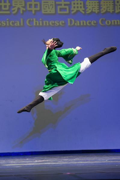 2012年第五屆新唐人全世界中國古典舞大賽少年男子組金獎陳厚任。(戴兵/大紀元)
