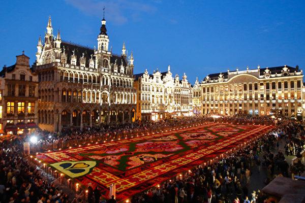 組圖:比利時兩年一次花毯節繽紛登場