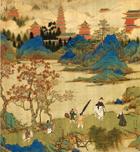 《徐顯卿宦跡圖·鹿鳴徹歌》表現的徐顯卿中式隆慶二年(1568年)應天府鄉試之後的場景,背景可見南京大報恩寺塔。