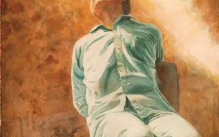 〈劉成軍〉(堅忍不屈的精神),Kathleen Gillis,油畫,32×58英吋,2004年。