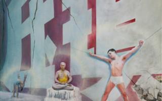 張崑崙,《紅牆》,油畫,36英吋 X 48英吋(2004)(圖片來源:falunart.org)