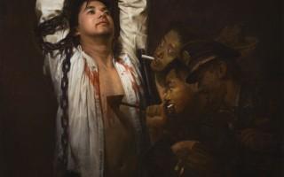 《囹圄中的大法徒》油畫 35.5 x 46 英寸 2009年 李園(圖片來源:falunart.org)