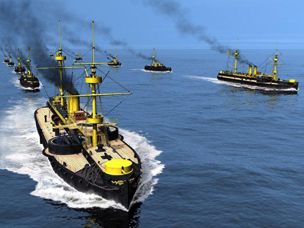 清北洋舰队以双纵队航行出海迎战。(暖暖书屋提供)