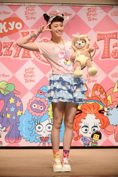 歐陽妮妮以日本元素風格裝扮出席日潮博覽會記者會。(公關提供)