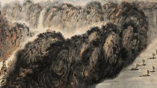 西風吹下紅雨來 傅抱石 1960年紙本 長卷496cm×95cm。(圖:華揚國際提供)
