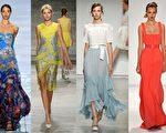 2015紐約春夏時裝週雲集了各國的著名時尚品牌,左起:李相奉,Angel Sanchez,Rebecca Taylor,Carolina Herrera。(大紀元合成圖/Getty Images)