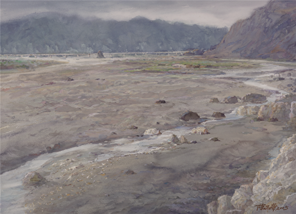 陈品华《卑南溪河床的沙地》 76×56cm 2005(图:中华亚太水彩艺术协会提供)
