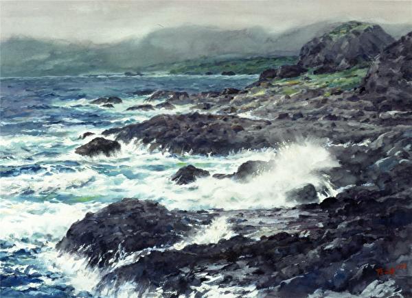 陈品华《三仙浪涌》_76×56cm_1993(图:中华亚太水彩艺术协会提供)