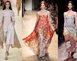 (左起)Hermès、Paul & Joe、Valentino在巴黎2015春夏時裝週發布女裝新品。(Getty Images/大紀元合成)
