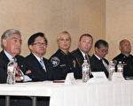 左起:马林县地检长爱德华‧贝尔贝里安、李少敏、海沃市警察局长黛安‧尔彭、Frank Hartig、Thomas Mui牧师和Mark Koller。(周凤临/大纪元)