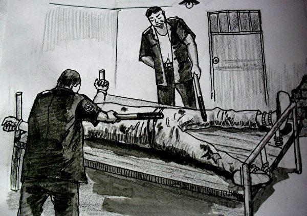 中共酷刑示意圖:長期綁床並電擊(明慧網)