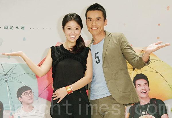 林心如、楊一展今年7月21日一起在台北出席電視劇宣傳活動。(黃宗茂/大紀元)