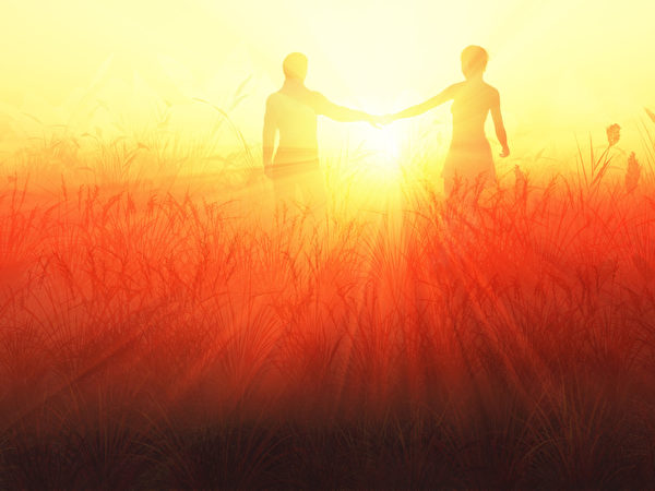 浪漫的情侣在日出(fotolia)