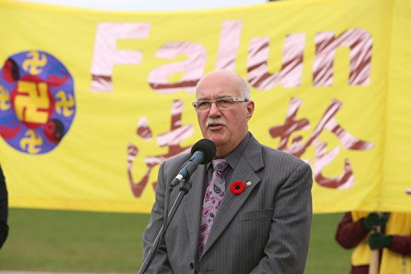 作為法輪功的忠實支持者,保守黨國會議員布里特布鲁兹議員在集會上表示,每年都會對法輪功學員表示支持,並表達對發生的酷刑和虐殺的關注。(艾文/大紀元)