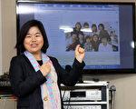 """不久前在韩国""""移居同胞开发研究院""""举办的""""在韩中国同胞团体负责人研讨会""""上,在韩同胞教师协会会长、大林国际学校院长文玟发表演讲。(朴莲/大纪元)"""