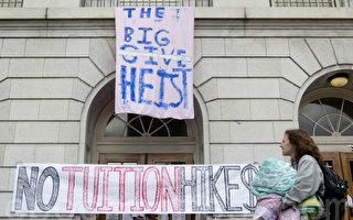 組圖:抗議加大漲學費 學生佔教學樓進入第3天
