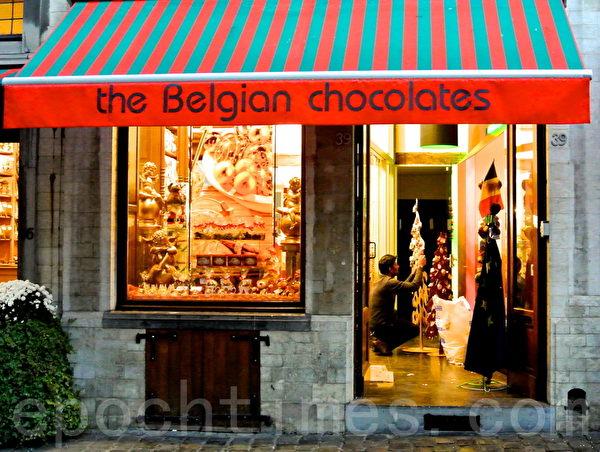 2014年「巧克力王國」比利時的聖誕櫥窗秀(簫依然/大紀元)