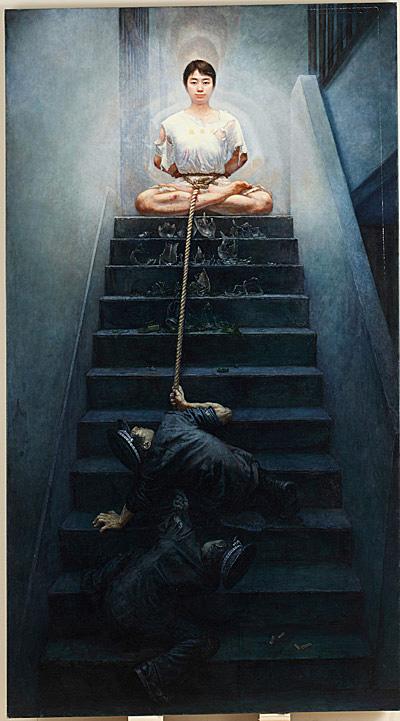 中國畫家李奔的畫作《撼不動的正信》獲得銀獎。(李奔提供)