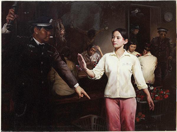 中國畫家王慧敏的畫作《美麗的背後-監獄奴工產品》獲得銅獎。(王慧敏提供)