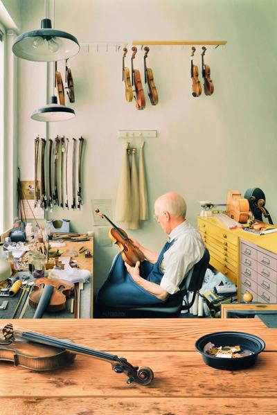 美國畫家Max Ferguson的畫作《小提琴修理鋪》(Violin Repair Shop)獲得銅獎。(Max Ferguson提供)