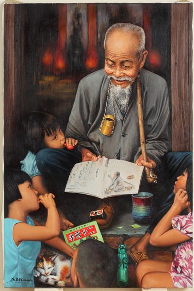 臺灣畫家施宗雅的畫作《世代情》獲得傑出人文獎。(施宗雅提供)