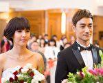 魏蔓與林佑威拍攝結婚戲。(三立提供)