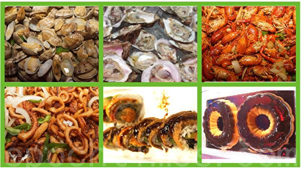該自助餐廳美食推薦: 壽司、生蠔、涼拌竹筍、辣炒蛤蜊、小龍蝦、焦糖布丁、炸魷魚圈。(肖琳/大紀元)