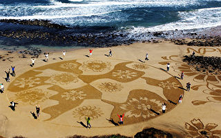 沙景艺术创作  见证澎湖沙滩美