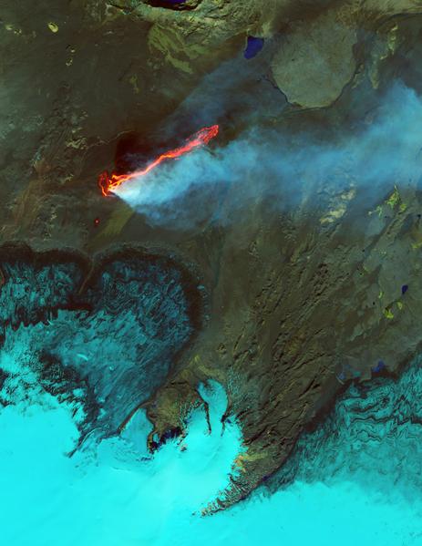 9月6日,冰島的一座火山噴發景象。(NASA/AFP)
