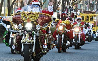 组图:哈雷圣诞老人 驰骋东京街头