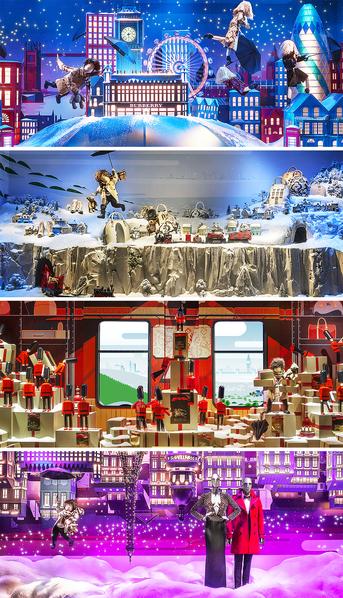 """春天百货今年的巴黎圣诞橱窗与英国奢侈品牌Burberry合作,主题为""""圣诞,Burberry创作的神奇之旅""""。讲述了一个小男孩和他的小熊从英国伦敦出发,乘着雨伞,飞过英国白雪皑皑的乡村,漂过大海,乘坐火车,最后在星雨中抵达巴黎春天百货的梦幻般的故事。每个橱窗是一个场景,连起来又是一个完整的故事,观众甚至还可以通过智能手机连接橱窗的内置摄像头,从橱窗内的视角观看。图为其中的四个橱窗。(printemps.com/大纪元合成图组)"""