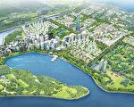 """松岛国际都市四周引入天然海水,整个松岛宛如一个海上公园,岛上的高科技建筑和周围的自然景观相融合,形成了独特的魅力。图为松岛国际都市俯瞰图(""""松岛大学城""""售房处提供)"""