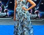2014年7月24日,懷孕六個月的佐伊.索爾達出席《銀河護衛隊》倫敦首映式。(Anthony Harvey/Getty Images)