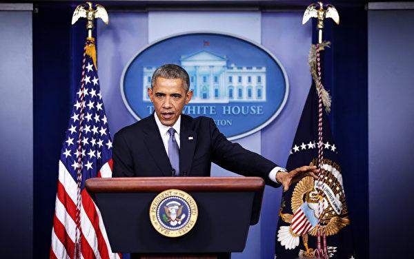 """美国总统奥巴马12月19日(周五)在白宫年终记者会上表示:""""美国在各个关键领域都在进步,我们可以重拾信心,迈向新的一年。""""。(Alex Wong/Getty Images)"""